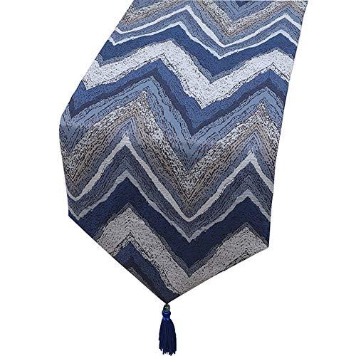 ZCJB Chemin de table Chemin de table, drapeau de table en coton, nappe de cuisine/fête/mariage/vacances/table basse, motif de rayures W (Couleur : Bleu, taille : 33x200cm)