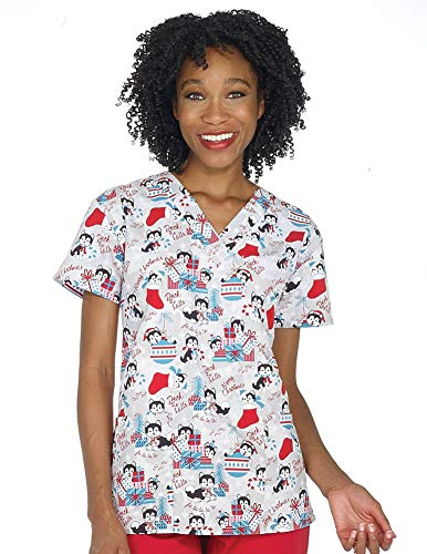 Women's Christmas Nurses Medical Scrub Top