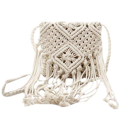 AiSi Damen Mädchen geflochten Strandtasche Quaste Umhängetasche Schultertasche kleine Abendtasche Elegante Handtasche, mit Reißverschluss, weiß