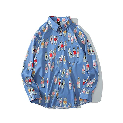 Camisa de Manga Larga con Estampado de Botellas de Tendencia para Hombre, Moda Informal, Ropa de Calle, Bolsillo con Costuras, Camisa básica con Cuello Vuelto M