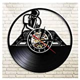 GenericBrands Wall Clock Vinyl Record DJ Turntable Hip Hop 3D Wall Clock Classic CD Record Decorative Hanging Art Silent Unique Decor Unique Gifts wall clock 12 inches - Without 7-color LED light