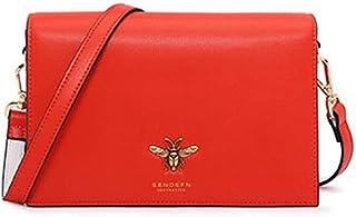 Personality Luxur Women's Bags Leather/Cowhide Crossbody Bag Bow(s) / Zipper Solid Color Black/Orange/Dark Brown Boutique (Color : Orange)
