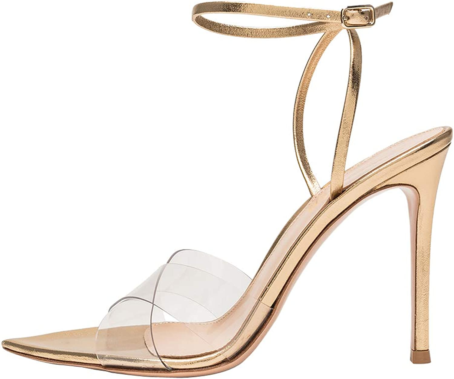 Themost Sandals for Women Sharp Toe Ankle Strap High Heels Stiletto Heel Pumps Transparent shoes Big Size