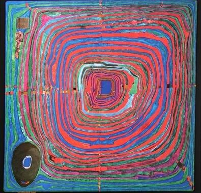 Hundertwasser Der große Weg Poster Kunstdruck Bild 67,3x68,2cm