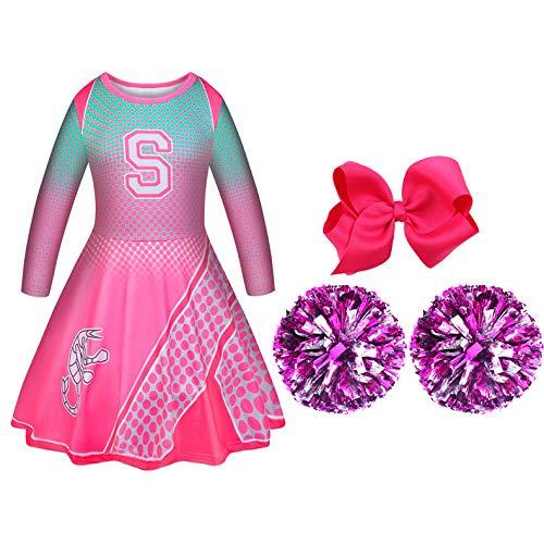 Disfraz de Halloween de Zombies 2 Niña Vestido de Animadora Fiesta Rosa con Pompones y una Cuerda para el Pelo a Juego 2-8 años
