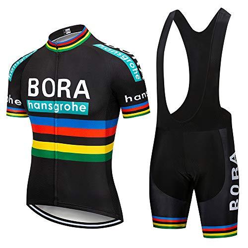 ZHLCYCL Traje Ciclismo Hombre, Maillot Ciclismo y Culotte Ciclismo con 5D Gel Pad para Verano Deportes al Aire Libre Ciclo Bicicleta, BOR-Black, L