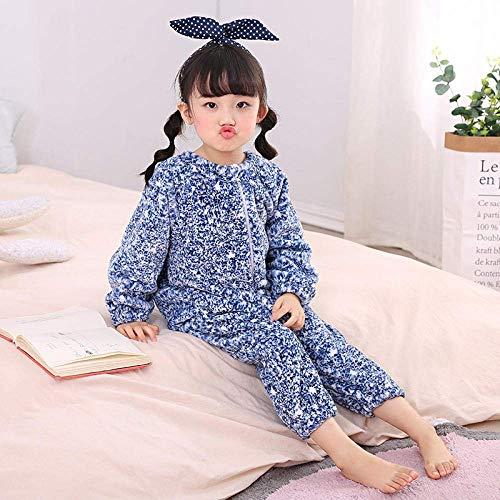 Pijama de bebé El otoño y el invierno bebé franela Niño de dormir caliente bolsa de bebé más gruesa de terciopelo pijama de una sola pieza de arrastre del traje de Blue_110CM Chicos y chicas de invier