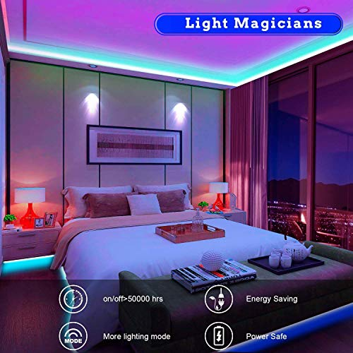 Tenmiro 65.6ft Led Strip Lights, Ultra Long RGB 5050 Color Changing LED Light Strips Kit with 44 Keys Ir Remote Led Lights for Bedroom, Kitchen, Home Decoration Indiana