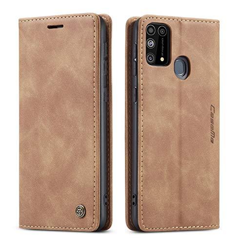 Bigcousin Handyhülle kompatibel mit Samsung Galaxy M31,Leder Flip Etui Handytasche Schutzhülle,Braun
