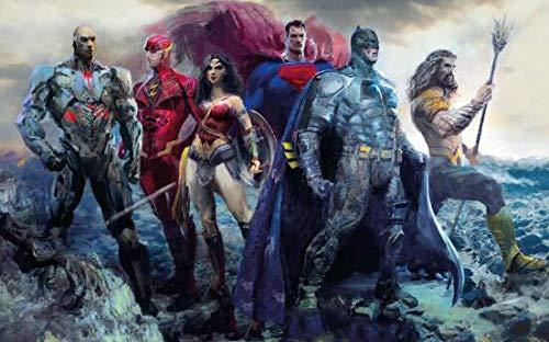 Justice League Superman y Batman Movie Posters e impresiones Comic Superhero Pintura al óleo sobre lienzo Arte de la pared Imagen de la habitación Sin marco Lienzo decorativo Pintura A3 60x80cm