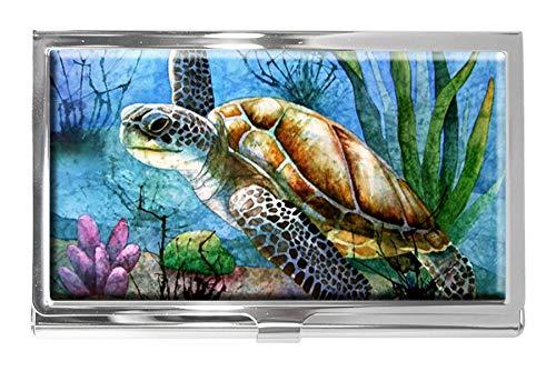 Sea Turtle - Tarjetero de Acero Inoxidable para identificación, diseño de Tortuga Marina, para Hombre y Mujer