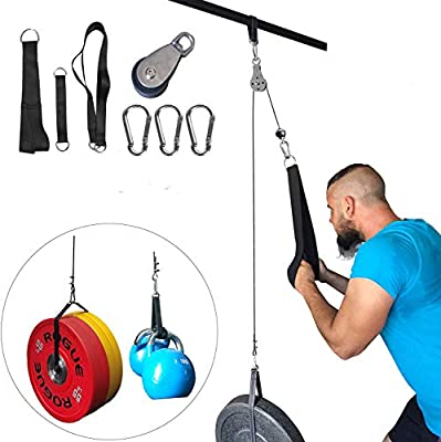 ANMKOT Fitness Pulley System, DIY Pulley Cable Machine Attachment System Hand Strength Training Home Gym Workout Equipment