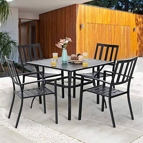 """PHI VILLA 5 Piece Outdoor Dining Set for 4, 37"""" Square Metal Dining Table with 1.57"""" Umbrella Hole & 4 Stacking Metal Chairs for Patio, Deck, Yard"""
