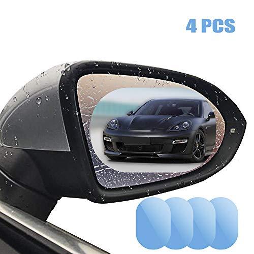 Espejo retrovisor para coche, película impermeable, 10,16 x 15,24 cm, HD, resistente al agua, anti niebla, espejo protector para vehículo universal SUV Tunck lateral ventana espejo, (Pack de 4)