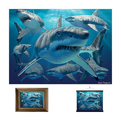 Lentikulare Wand Art Prints der Weißen Haie 3D LiveLife von Deluxebase. Schönes Plakat des Haifisch-3D. Originalvorlage genehmigt vom bekannten Künstler David Penfound