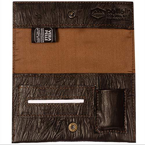 Pellein - Portatabacco in vera pelle Mojo - Astuccio porta tabacco, porta filtri, porta cartine e porta accendino. Handmade in Italy