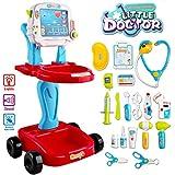deAO Petit Docteur Playset Centre Médical Portatif sur Roues Jeux d'Imitation Comprend Accessoires