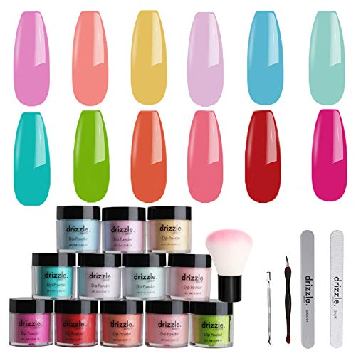 Drizzle Dip Powder Nail Kit Starter with 12 Color Nude for Starter Manicure Nail Art for French Nail No Nail Lamp Needed Dipping Nail Powder Kit