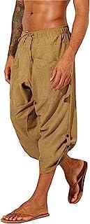 Gafeng Mens Yoga Capri Pants Casual Baggy Elastic Waist Drawstring Gym Sports Cotton Shorts 3/4 Pants with Pockets