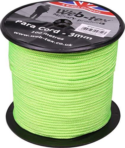 Web-tex - Rollo de cordón Paracord de 3 mm - 100 Metros -