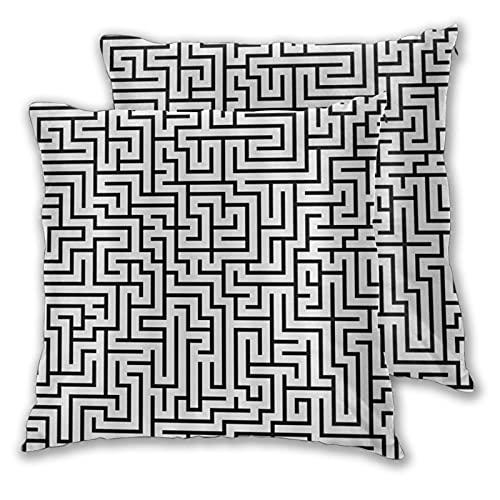 LONSANT Fundas de Cojines 60x60cm,Laberinto en Blanco y Negro,decoración Cuadrado Fundas de Almohada Funda de cojín para sofá Dormitorio,Pack de 2