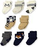 Hudson Baby Unisex Cotton Rich Newborn and Terry Socks, Woodland Creatures 8 Pk, 0-6 Months