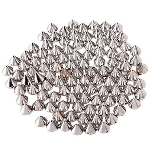 AIYUE 100 PCS DIY Nieten Silber Acryl Bullet Spike Perlen Nieten DIY Kleider Bra Deko Punk Handwerk Dekoration Taschen/Schuhe/Jacken/Kleidungsstücke Nähen Kleber auf zur Verschönerung