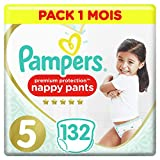 Pampers Premium Protection Nappy Pants T5, 132 Couches-Culottes, Pack 1 Mois