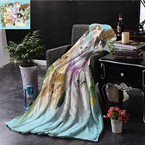 Cat Cute Kittens Commercial grade printed blanket Tropical Animals Garden and Flowers Green Tropical Leaves Colorful Friends Tulips Queen King W70 x L84 Inch Green Gray Black White Decor for Teen