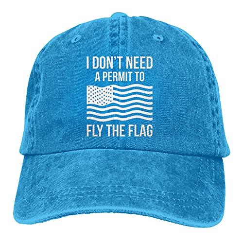Garitin Gorra de béisbol ajustable con texto en inglés 'I Don't Need A Permit to Fly The Flag Gorra unisex lavable para camionero, azul, Talla única