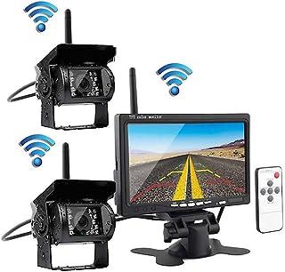 7インチモニター ワイヤレス デジタルカメラ バックカメラ 2×リアビューカメラ 高画質 車用 IP67防水 暗視機能 駐車支援システム 超広角 12V/24V兼用 取り付け簡単(1年保証期間)