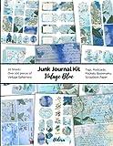 Junk Journal Kit Vintage Blue: Vintage Ephemera for Junk Journals Blue Vintage Scrapbook Embellishments Tags Pockets Postcards Bookmarks Scrapbook Paper