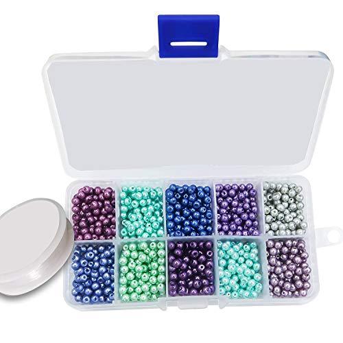 TOAOB 1000 Stück 4mm Glasperlen Runde Mehrfarbig Perlen Kalter Ton mit Elastisch Schmuckfaden Faden für Schmuckherstellung