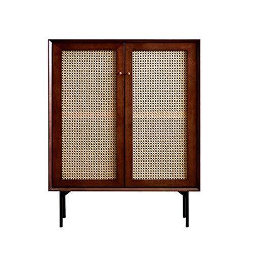ZzheHou Massivholz Sideboard Rattan-Speicher-Schrank Anrichte Buffet Kabinett for Esszimmer Home Küche Wohn Geeignet für Wohnzimmer (Color : Coffee, Size : 100x80x40cm)