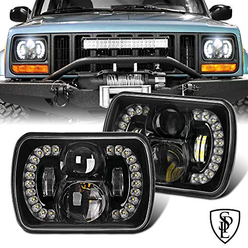 SPL 5x7/7x6 Inch Projector Cree Led Headlights with DRL Cambered Lens Compatible with Jeep Wrangler YJ Cherokee XJ H6054 H5054 H6054LL 69822 6052 6053(Dot Approved))