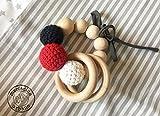 Sonajero estilo Montessori de madera y ganchillo para bebes, regalo sensorial,...