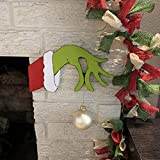 Bonwuno Christmas Thief Hand Decoration, Christmas Thief Grinch Hand Cut Out Decorations Funny Thief Hand is Stealing Your Ornaments Outdoor Indoor Xmas Decor for Fireplace, Door, Window, Wall