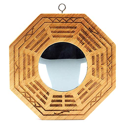 Feng Shui Wood Chinese Bagua Mirror 4 Inch (Convex)