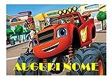 BLAZE LE MEGA MACCHINE FESTA CIALDA IN OSTIA PER TORTA PERSONALIZZABILE - kit n°1 Cdc- (1 CIALDA IN OSTIA DIMENSIONI FOGLIO A4 210 × 297 mm)