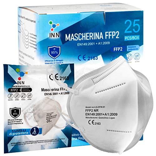 Eurocali 25 Mascherine FFP2 Certificate CE Mascherina 5 Strati Confezionate Singole Filtraggio ≥95% con Morbidi Elastici
