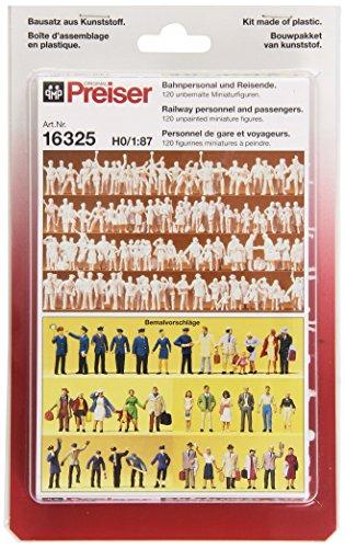Preiser 16325 H0 Bahnpersonal und Reisende. 120 unbemalte Figuren
