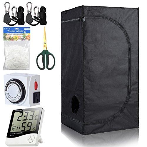 BloomGrow 16''x16''x48'' Grow Tent Room w/Waterproof Floor Tray + Grow Light Hanger + Digital Hygrometer + Bonsai Shears + 24 Hour Timer + Trellis Netting Indoor Grow Tent Kit