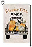 BLKWHT Pumpkin Patch Fall Thanksgiving Small Garden Flag Vertical Double Sided 12.5 x 18 Inch Farmhouse Autumn Burlap Yard Outdoor Decor