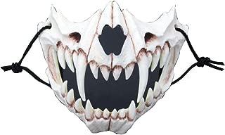 TOKYO-T Halloween Mask Skull Half for Men Biker Mask Realistic Cosplay (Fang)