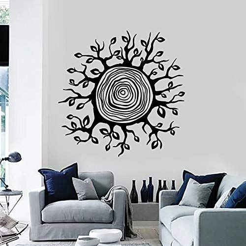 Pegatinas de pared árbol hojas tocón círculo capa naturaleza arte Mural decoración del hogar dormitorio bebé habitación vivero ventana vinilo pegatina