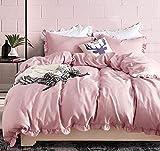 Luofanfei Mädchen Bettwäsche 135x200 Rosa Rüschen Design Bettbezug 2 Teilig Uni Pink Microfaser Koralle Exztra Weich