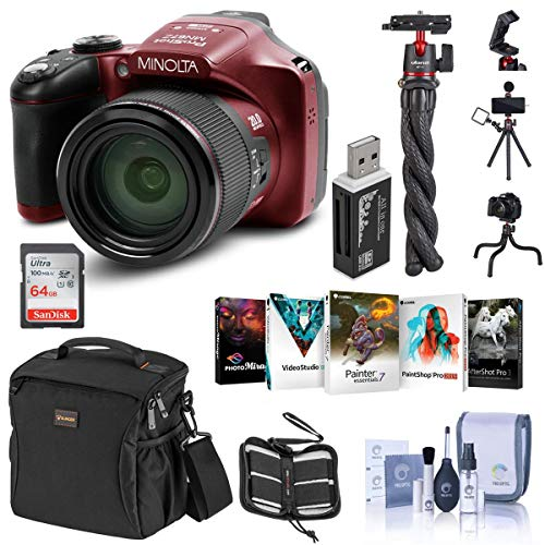 Minolta MN67Z 20MP Full HD Wi-Fi Bridge Camera with 67x Optical Zoom, Red Essential Bundle with Bag, 64GB SD Card, Octopus Tripod, Corel PC Software Pack and Accessories