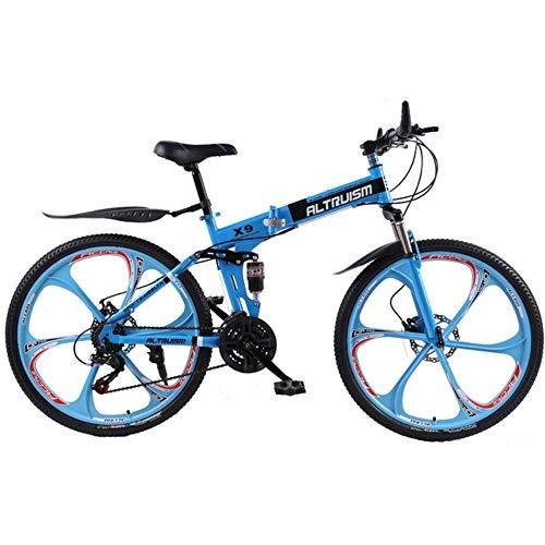 MZLJL Berg Fahrrad, X9 Klappfahrräder für 21-Gang-Fahrrad Stahl Mountainbike Unisex Kinder 26-Zoll-Mountainbikes, Blau, China