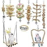 8pz Juguetes para Pájaros Columpio para Loros Accesorios Madera Natural Jaula Pajaros Bite Toy con Campanas para Periquitos, Cockatiels,...