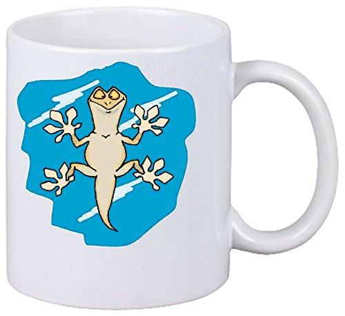 Reifen-Markt Kaffeetasse Motiv Nr. 10583 Gecko auf dem Fenster Cartoon Spass Fun Kult Film Top Cartoon Spass Fun Kult Film Top Keramik Höhe 9,5cm ? 8cm in Weiß